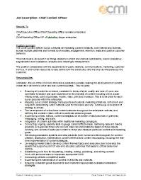 fashion marketing coordinator job description job description format for chief content officer
