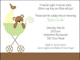 brown in stroller baby shower invitations green