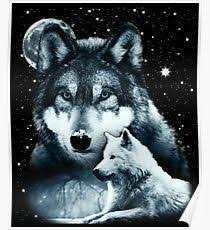 three wolf moon design illustration posters redbubble