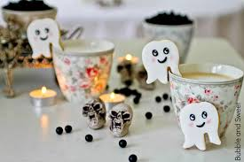 bubble and sweet happy ghost cup edge cookies for halloween