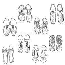 vector set of sketch shoes items top view collection stock