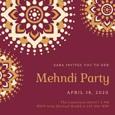 mehndi invitation maroon gold indian fancy mehndi invitation templates by