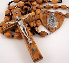 wall rosary large olive wood wall rosary