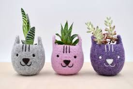 animal planter felted animal planters are the perfect companions for your tiny plants