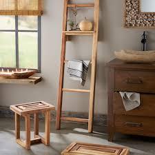Ladder Shelf For Bathroom Scrap Teak Bathroom Collection Stool Mat U0026 Ladder Shelf Vivaterra