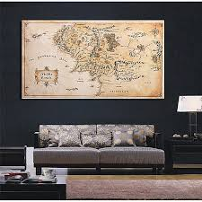 110x60cm map of middle earth lord of the rings silk cloth poster