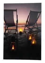 Amazon Beach Chair Amazon Com Beach Scene At Night Light Up Canvas Print With Led