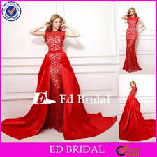 nn07 2015 latest real sample unique detachable red lace train prom
