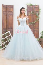 unique wedding dress light blue lace and tulle the shoulder gown unique