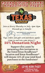 Fundraising Invitation Card Texas Roadhouse Dining To Donate Women U0027s Humane Society
