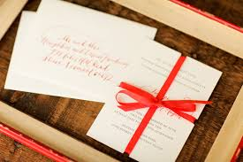 Wedding Invitations With Ribbon Red Calligraphy Ribbon Wedding Invitations
