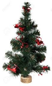 small artificial green christmas tree on white stock photo