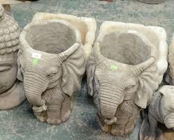 composition garden ornaments elephant form planters