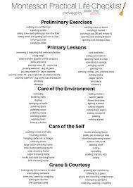 printable montessori curriculum montessori pracitcal life checklist printable montessori free
