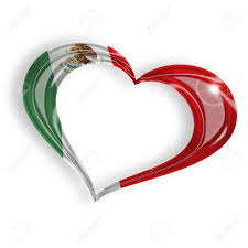 heart with mexican flag colors on white background stock photo