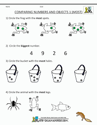 Spanish 1 Worksheets Math Pre Kindergarten Math Worksheets Comparing Numbers And Size