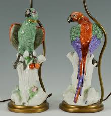 attractive porcelain antique table lamp design with birdie body