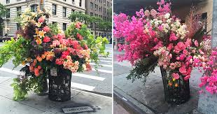 flowers nyc floral designer lewis miller turns nyc trash cans into bountiful