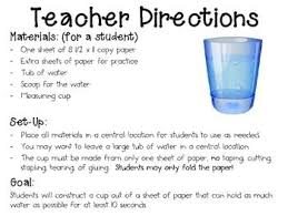 Water Challenge Directions Paper Cup Engineering Challenge Project Great Stem Activity