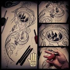 catcher design howling wolf tattoos