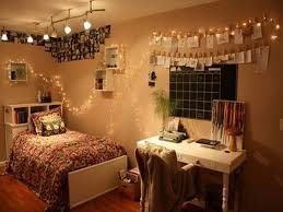 perfect string lights and white wooden desk for delightful teen