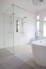 shower with river rock tiles eclectic bathroom