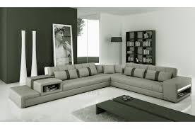 canapé d angle en cuir italien 6 7 places gris clair