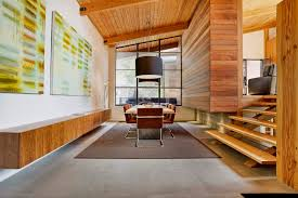 Wood Interior by Black Window Frames And Interior Wood Feature Wall
