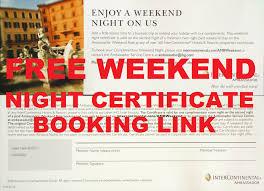 booking using intercontinental ambassador free weekend night
