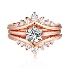 set rings round images Round cut s925 silver white sapphire rose gold 3 piece ring sets jpg