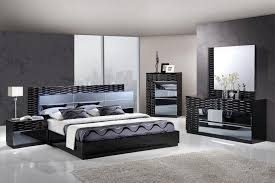 black glossy unique bedroom set with led headboard gfmanh