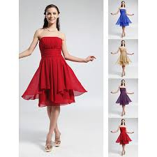 short knee length chiffon bridesmaid dress ruby grape royal blue