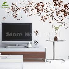 Aliexpress Home Decor Aliexpress Com Buy Brown Flower Vine Diy Vinyl Wall Stickers