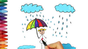 how to draw and color a rain and kid how to draw and color kids