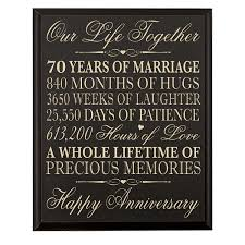 70th anniversary gift 70th wedding anniversary wall plaque gifts for