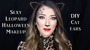 leopard halloween costume leopard halloween makeup tutorial diy cat ears youtube
