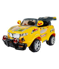 jeep yellow toyhouse thunder jeep 6v rechargeable battery operated ride on suv