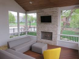 Wood Porch Ceiling Material by Outdoor Fireplaces In Kansas City Overland Park Olathe Lee U0027s