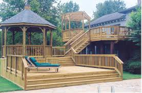 poolside multilevel deck with gazebo archadeck outdoor living