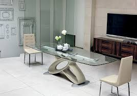 Delighful Modern Glass Dining Room Tables Classy Round Table - Contemporary glass dining room tables