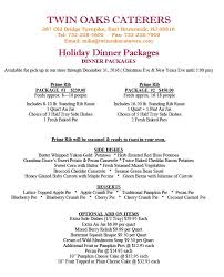 2016 menu and special packages catering for