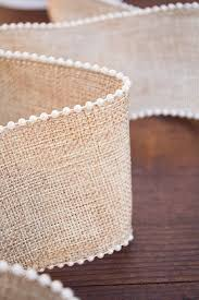 burlap wired ribbon burlap ribbon wired with pearl trim 2 5 inches x 10 yards