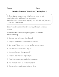 pronouns worksheets intensive pronouns worksheets