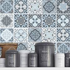 credence autocollant cuisine autocollant carrelage décoratif vintage bleu gris pack a https