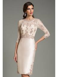 short 3 4 length sleeves lace and satin party evening dresses 5801032