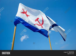 Russian Flag With Hammer And Sickle Two Flags On Background Blue Sky Image U0026 Photo Bigstock