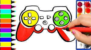 game console coloring page drawing gamepad learn colors for