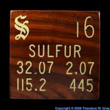 Sulfur On The Periodic Table Sulfur Inlaid Wood Tile A Sample Of The Element Sulfur In The
