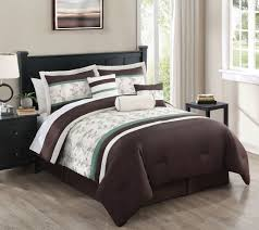 7 piece creekside chocolate green beige embroidered comforter set