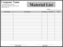 Bill Of Materials Excel Template Material List Template Word Excel Pdf